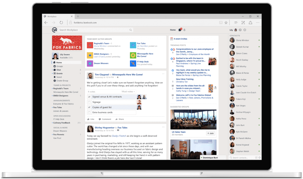 Workplace by Facebook dashboard