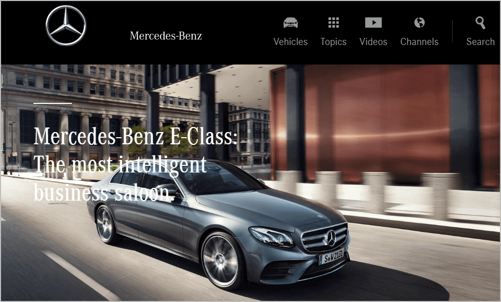 Mercedes landing page