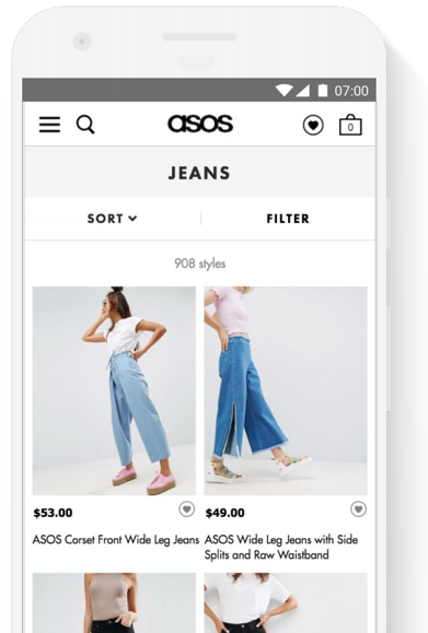 Asos mobile category