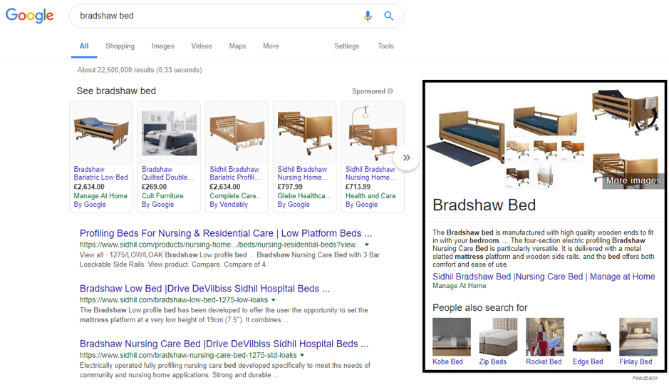 E-commerce featured snippet