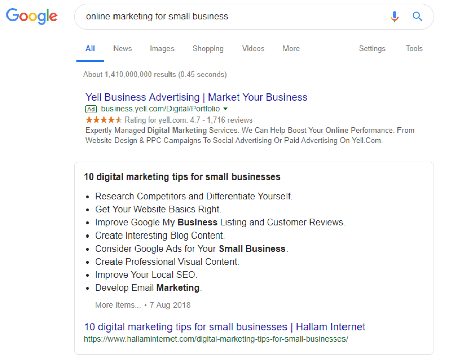 Example of a list featured snippet