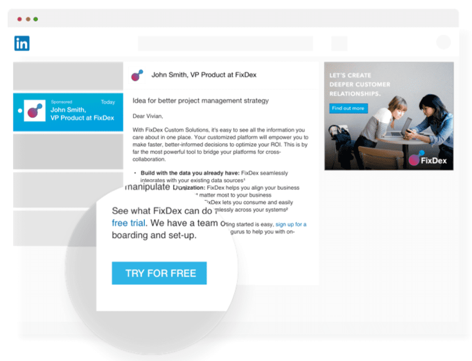 LinkedIn example CTA