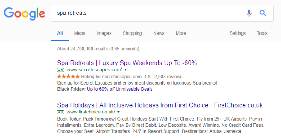 Secret Escapes Google ad