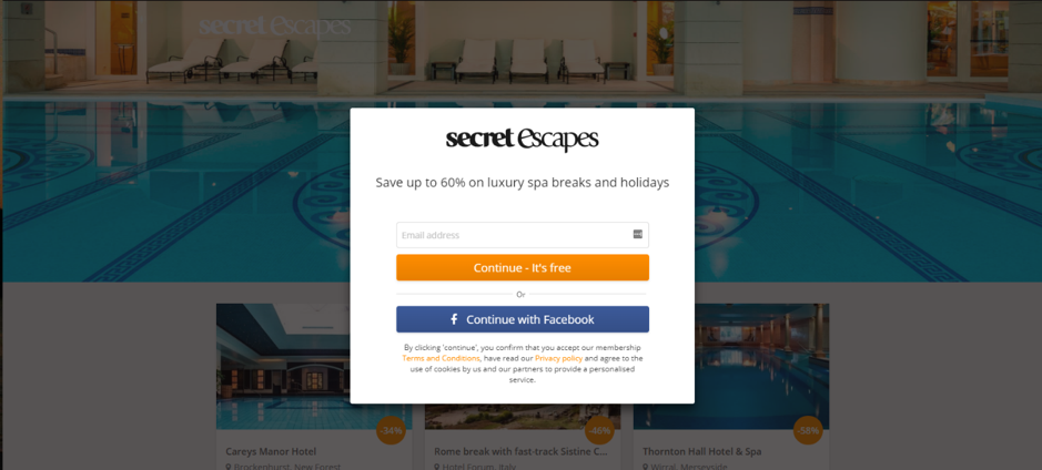 Secret Escapes personalized page