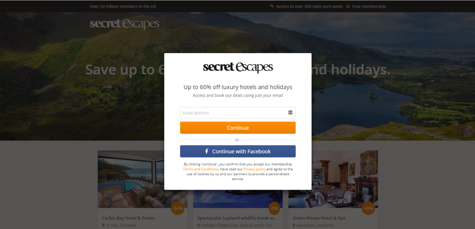 Secret Escapes un-personalized page