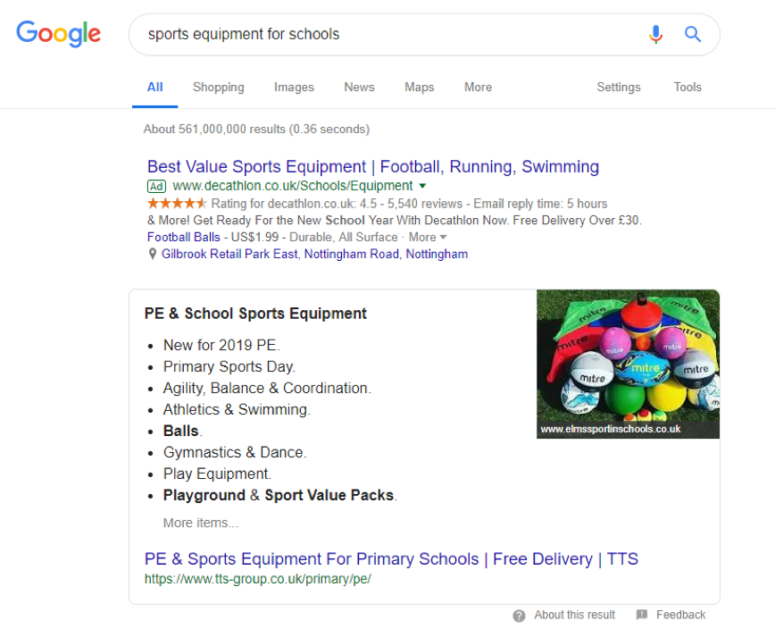Transactional example of a list featured snippet