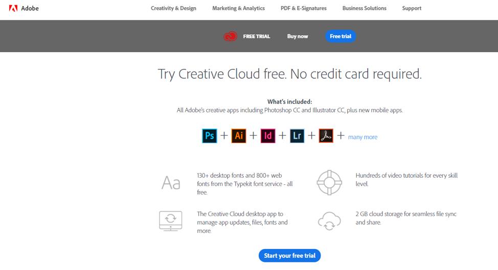 Adobe free trial CTA