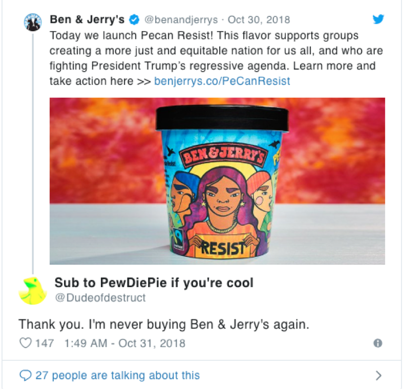 Ben & Jerry's Pecan Resist tweet