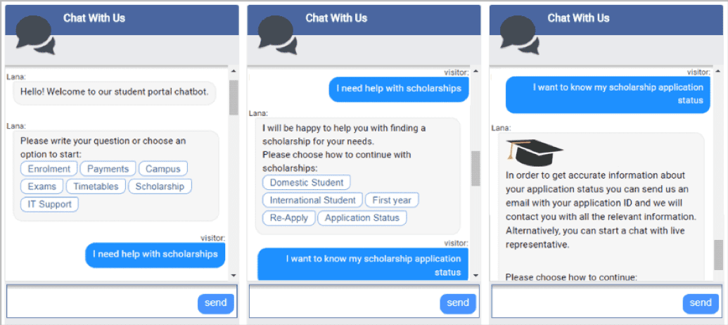 Chatbot student interventions