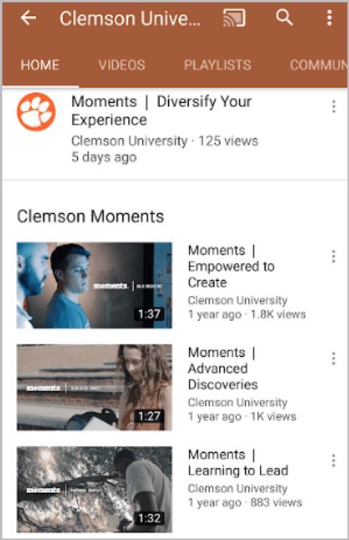 Clemson Moments YouTube videos
