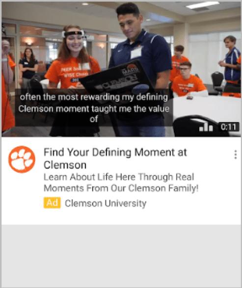 Clemson University video ad