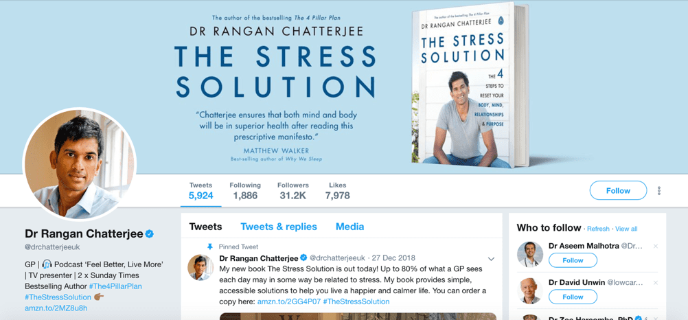 Dr. Rangan Chatterjee marketing médico no Twitter