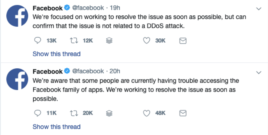 Facebook technical issues response tweets