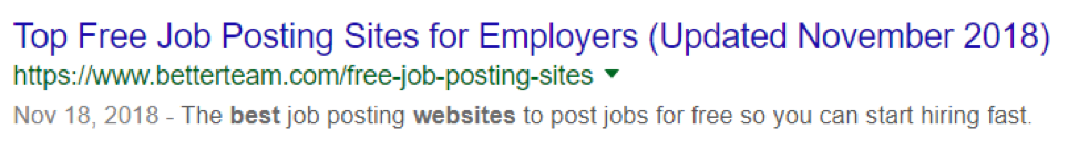 Featured snippet job posting