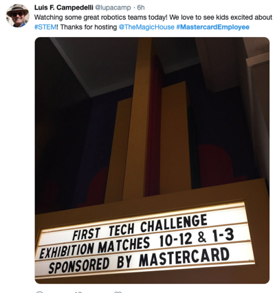 Mastercard employee advocacy tweet 2