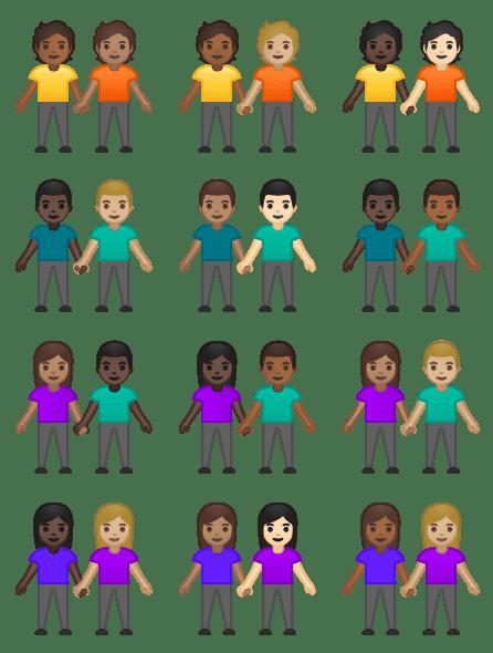 New interracial couples emojis