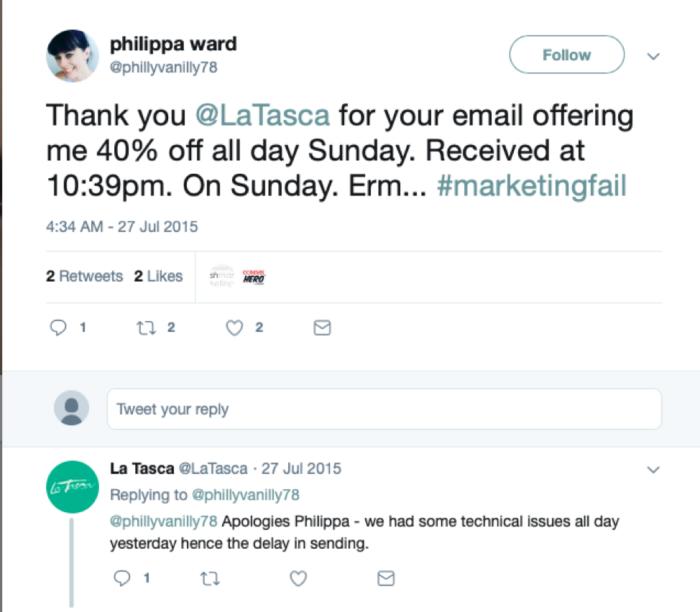 Philippa Ward tweet to La Tasca