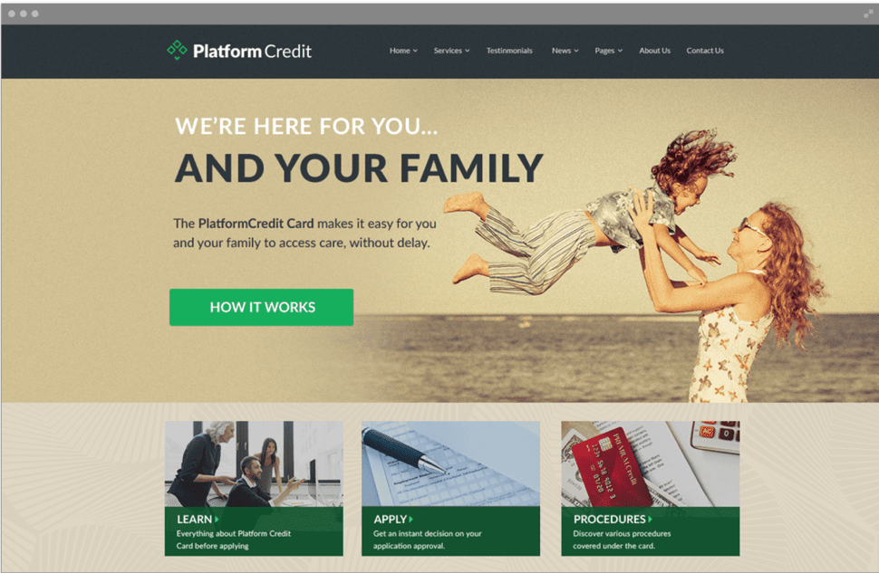 Platform credit new visitors page