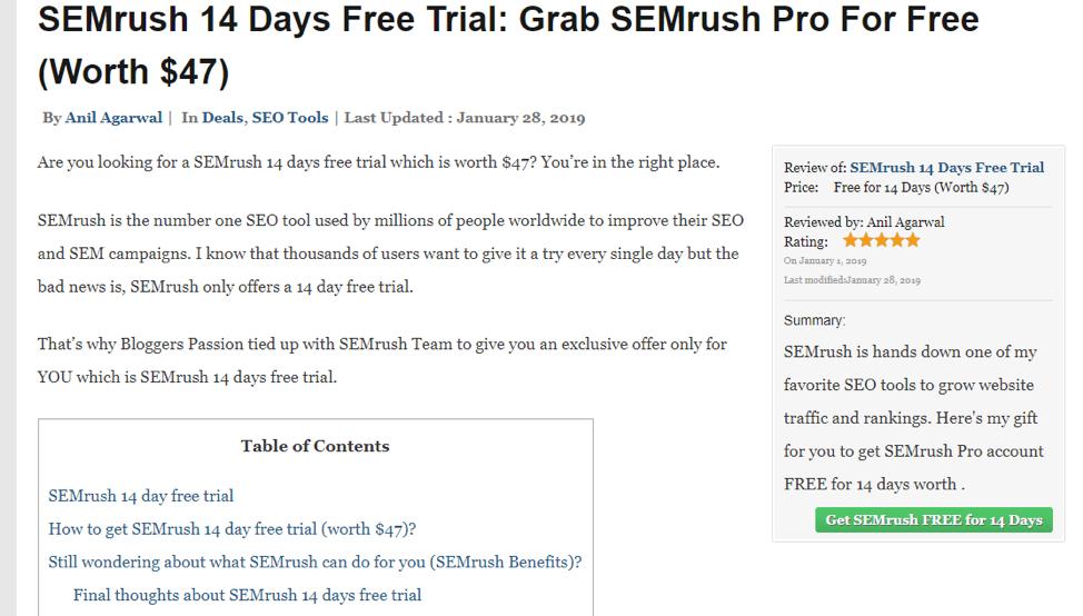 SEMrush free trial post