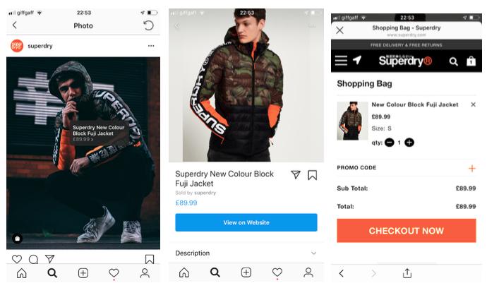 Superdry shoppable Instagram post