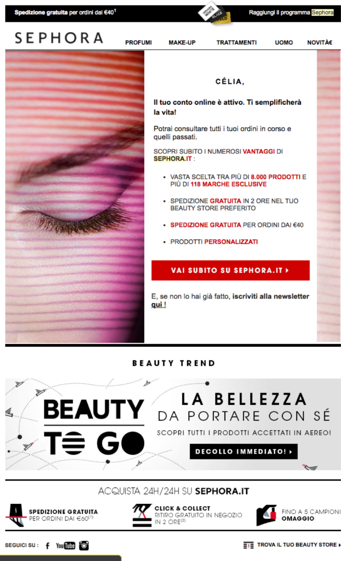 Sephora Italian welcome email