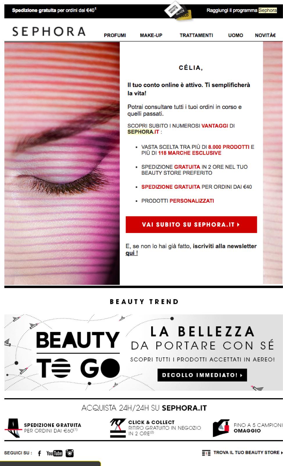 Sephora Italian welcome email