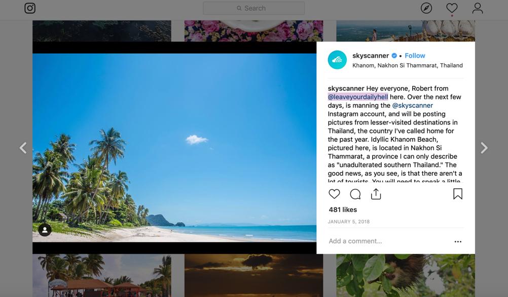 Skyscanner Instagram takeover