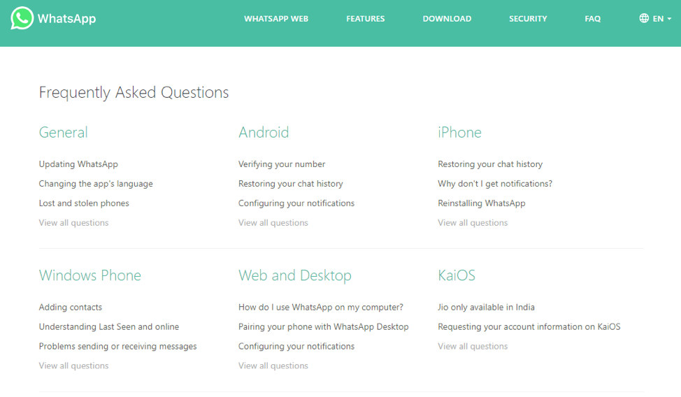 WhatsApp frequently asked questions
