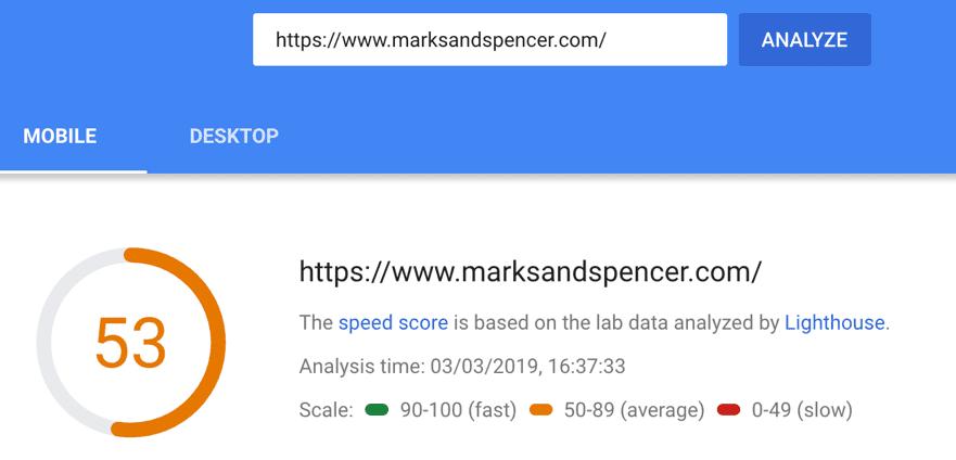 marksandspencer.com page load speed