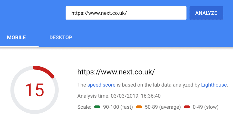 next.co.uk page load speed