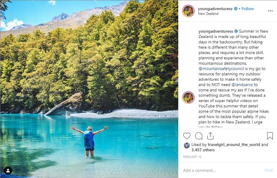 Adventure influencer Instagram post