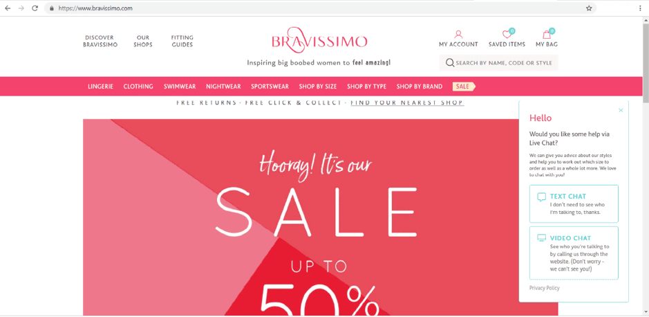 Bravissimo personalized shopping experience