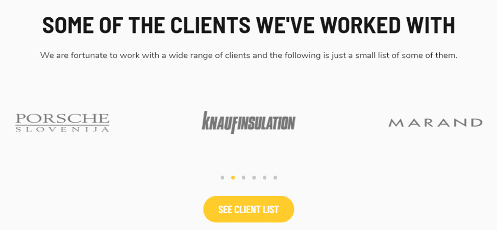 Client list landing page