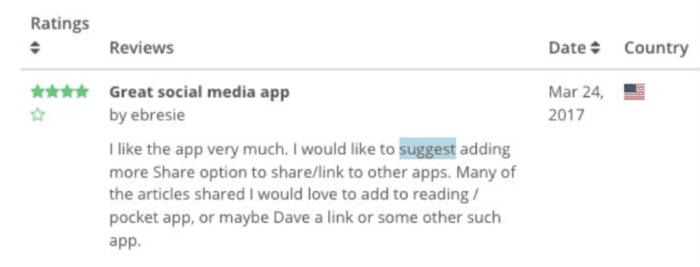 Revisão de aplicativos para dispositivos móveis do cliente
