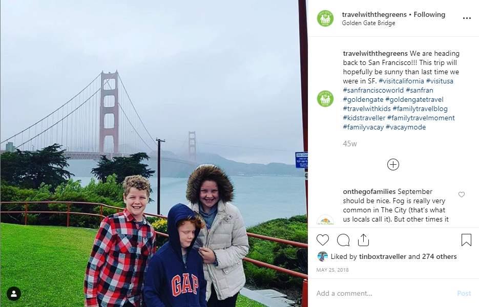 Family travel Instagram post