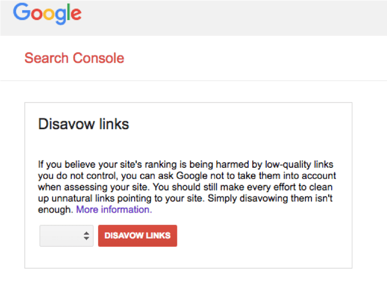 Google Search Console - Disavow links