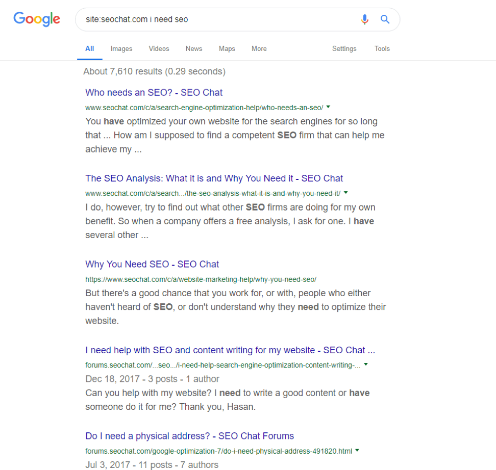 Need SEO Google search results