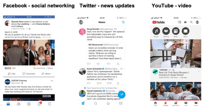Exemplos de aplicativos para dispositivos móveis de mídia social