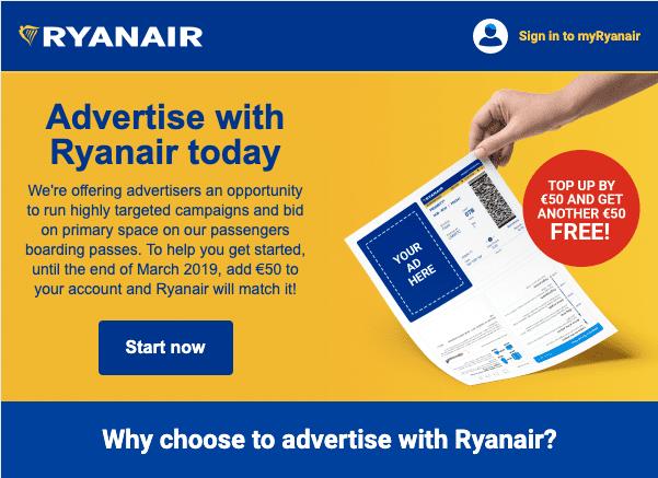 Ryanair advertising email