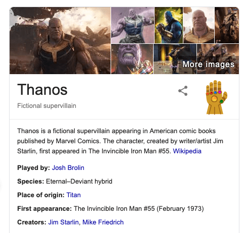 Thanos search results on Google