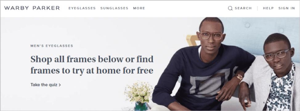 Warby Parker eyewear quiz