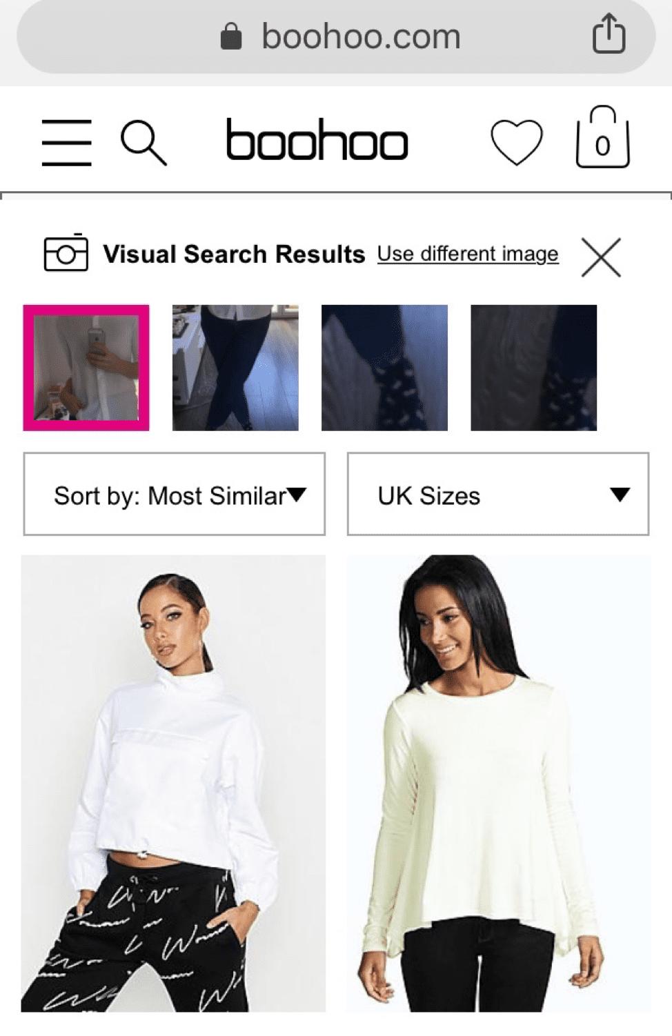 boohoo visual search results