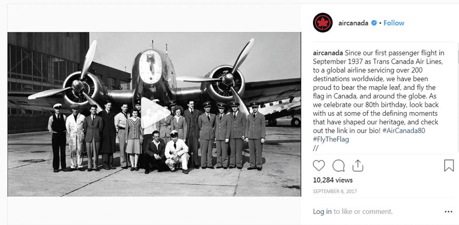 Air Canada Instagram