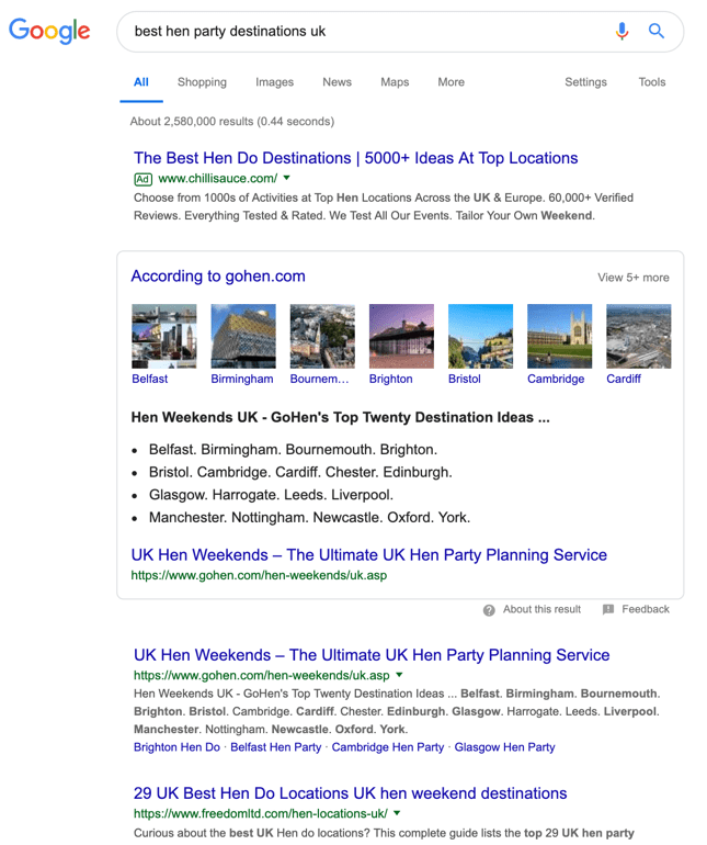Google content example