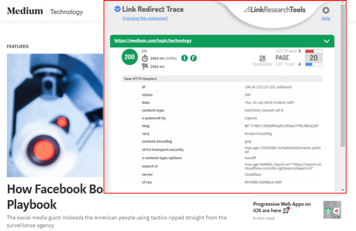 Link Redirect Trace