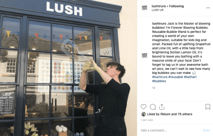 Lush Truro Instagram post