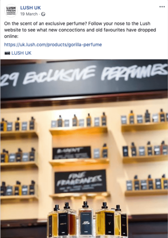 Lush UK Facebook post