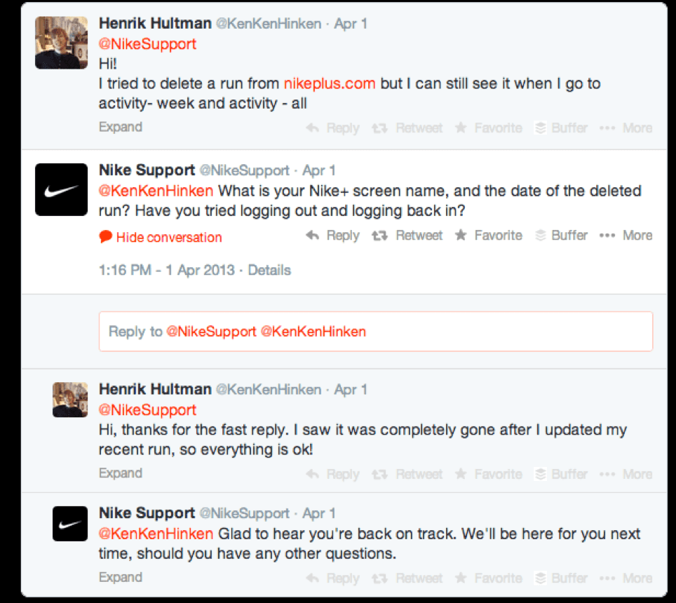 Nike Support Twitter example
