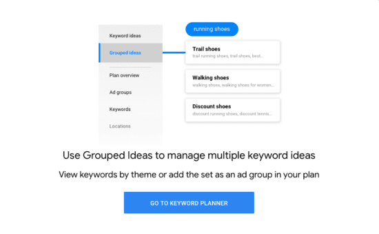 Google Keywords Grouped Ideas feature