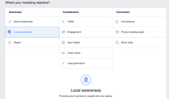 Setting up marketing objective for Messenger ads